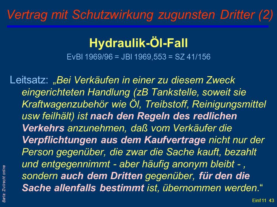Einf 11 43 Barta: Zivilrecht online Vertrag mit Schutzwirkung zugunsten Dritter (2) Hydraulik-Öl-Fall EvBl 1969/96 = JBl 1969,553 = SZ 41/156 Leitsatz