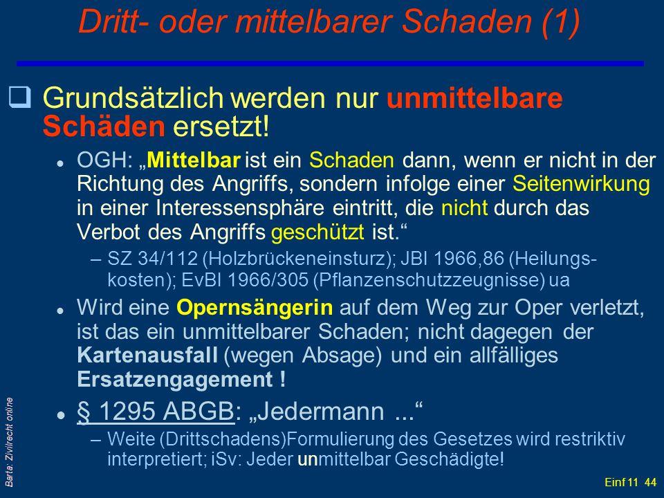 Einf 11 44 Barta: Zivilrecht online Dritt- oder mittelbarer Schaden (1) qGrundsätzlich werden nur unmittelbare Schäden ersetzt! l OGH: Mittelbar ist e