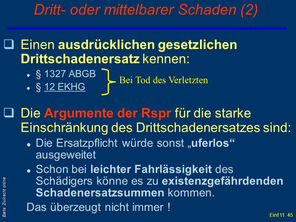 Einf 11 45 Barta: Zivilrecht online Dritt- oder mittelbarer Schaden (2) qEinen ausdrücklichen gesetzlichen Drittschadenersatz kennen: l § 1327 ABGB l