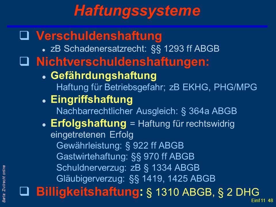 Einf 11 48 Barta: Zivilrecht online Haftungssysteme qVerschuldenshaftung l zB Schadenersatzrecht: §§ 1293 ff ABGB qNichtverschuldenshaftungen: l Gefäh