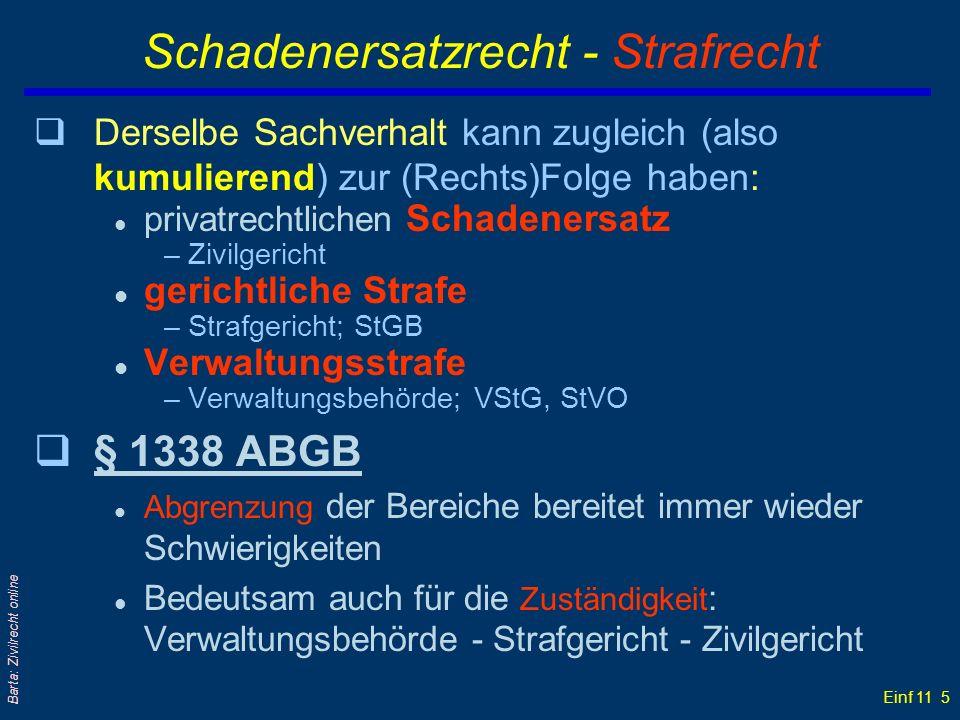 Einf 11 5 Barta: Zivilrecht online Schadenersatzrecht - Strafrecht qDerselbe Sachverhalt kann zugleich (also kumulierend) zur (Rechts)Folge haben: l p