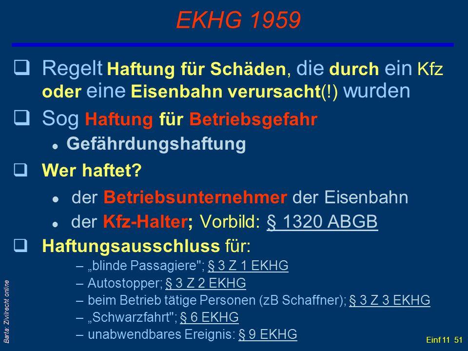 Einf 11 51 Barta: Zivilrecht online EKHG 1959 qRegelt Haftung für Schäden, die durch ein Kfz oder eine Eisenbahn verursacht(!) wurden qSog Haftung für