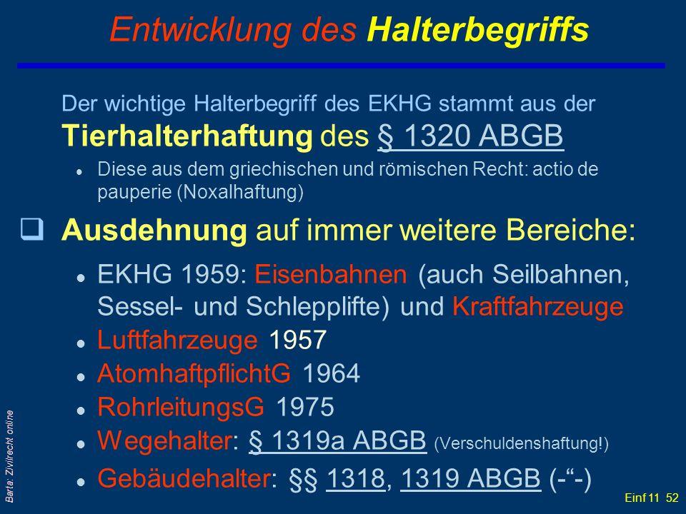 Einf 11 52 Barta: Zivilrecht online Entwicklung des Halterbegriffs Der wichtige Halterbegriff des EKHG stammt aus der Tierhalterhaftung des § 1320 ABG
