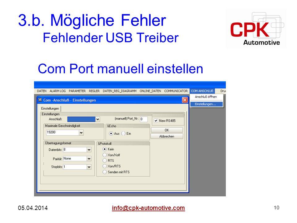10 05.04.2014 3.b. Mögliche Fehler Fehlender USB Treiber Com Port manuell einstellen info@cpk-automotive.com