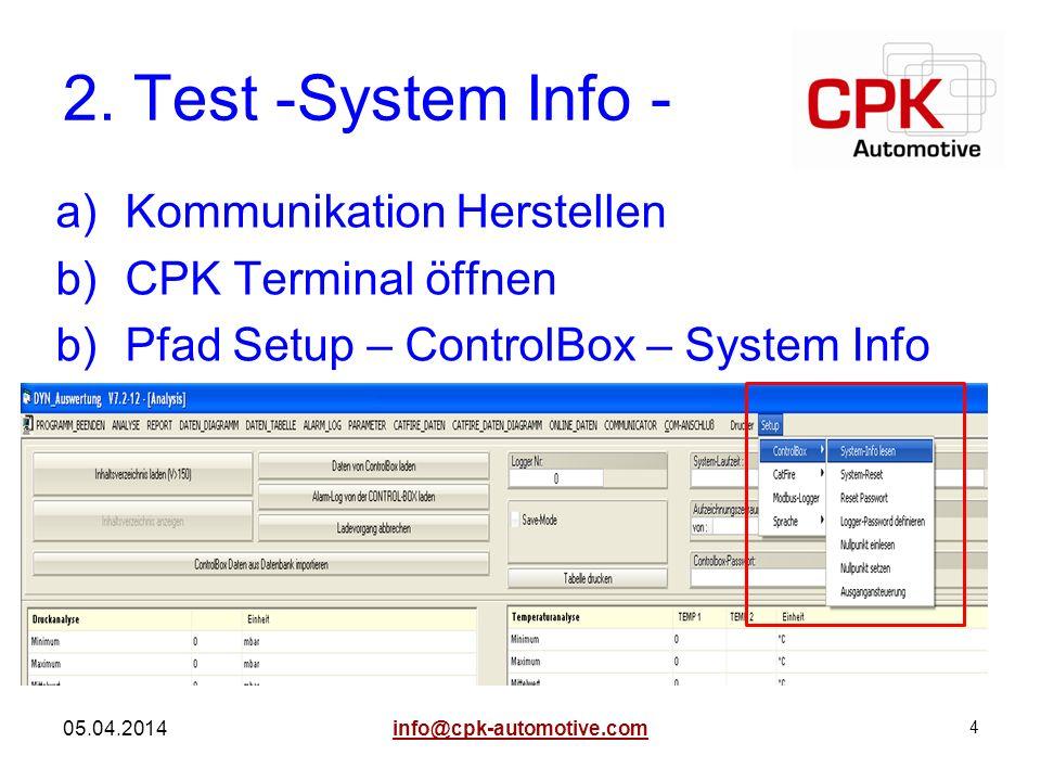 4 05.04.2014 2. Test -System Info - a)Kommunikation Herstellen b)CPK Terminal öffnen b)Pfad Setup – ControlBox – System Info info@cpk-automotive.com