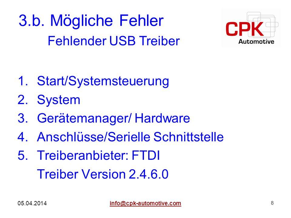 8 05.04.2014 1.Start/Systemsteuerung 2.System 3.Gerätemanager/ Hardware 4.Anschlüsse/Serielle Schnittstelle 5.Treiberanbieter: FTDI Treiber Version 2.