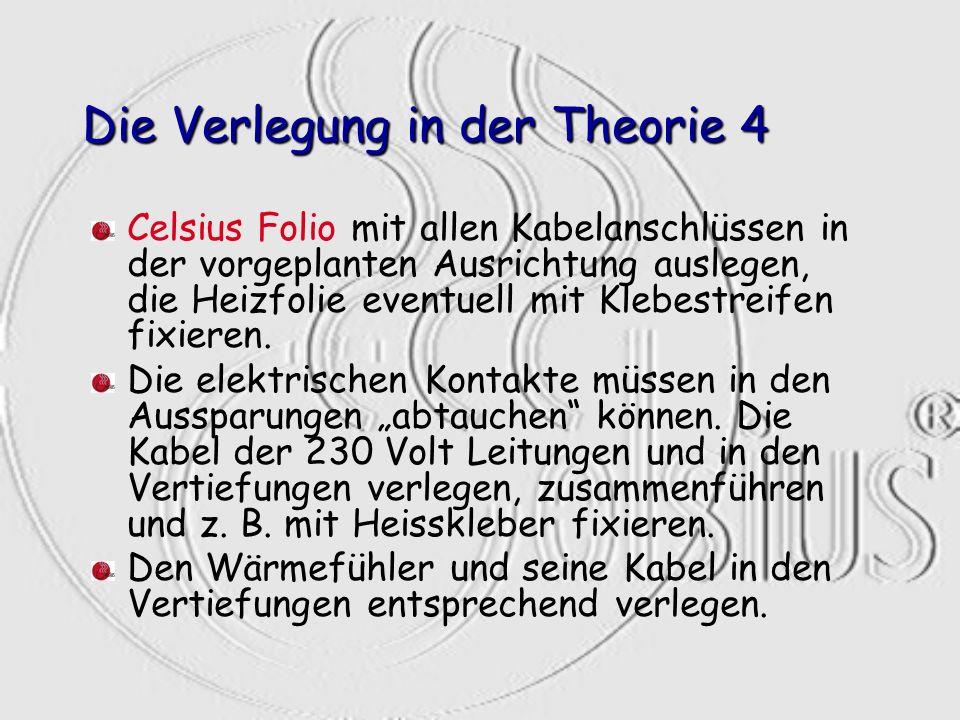 Die Verlegung in der Theorie 4 Celsius Folio mit allen Kabelanschlüssen in der vorgeplanten Ausrichtung auslegen, die Heizfolie eventuell mit Klebestr