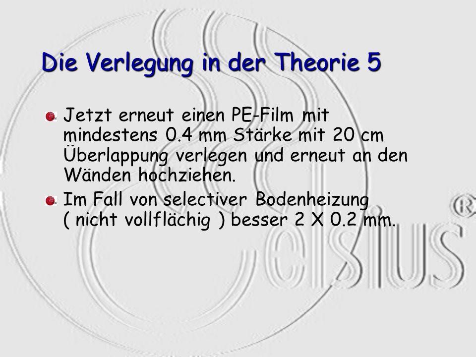 Die Verlegung in der Theorie 5 Jetzt erneut einen PE-Film mit mindestens 0.4 mm Stärke mit 20 cm Überlappung verlegen und erneut an den Wänden hochzie