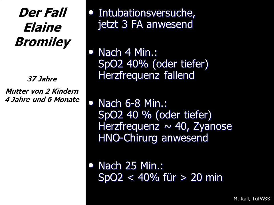 Der Fall Elaine Bromiley 37 Jahre Mutter von 2 Kindern 4 Jahre und 6 Monate Intubationsversuche, jetzt 3 FA anwesend Intubationsversuche, jetzt 3 FA anwesend Nach 4 Min.: SpO2 40% (oder tiefer) Herzfrequenz fallend Nach 4 Min.: SpO2 40% (oder tiefer) Herzfrequenz fallend Nach 6-8 Min.: SpO2 40 % (oder tiefer) Herzfrequenz ~ 40, Zyanose HNO-Chirurg anwesend Nach 6-8 Min.: SpO2 40 % (oder tiefer) Herzfrequenz ~ 40, Zyanose HNO-Chirurg anwesend Nach 25 Min.: SpO2 20 min Nach 25 Min.: SpO2 20 min M.