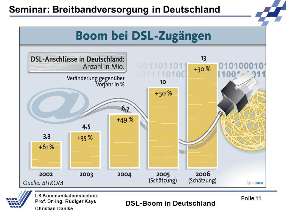 Seminar: Breitbandversorgung in Deutschland Folie 11 LS Kommunikationstechnik Prof. Dr.-Ing. Rüdiger Kays Christian Dahlke DSL-Boom in Deutschland