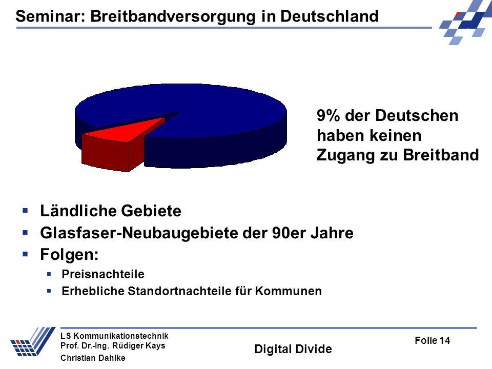 Seminar: Breitbandversorgung in Deutschland Folie 14 LS Kommunikationstechnik Prof. Dr.-Ing. Rüdiger Kays Christian Dahlke Digital Divide Ländliche Ge