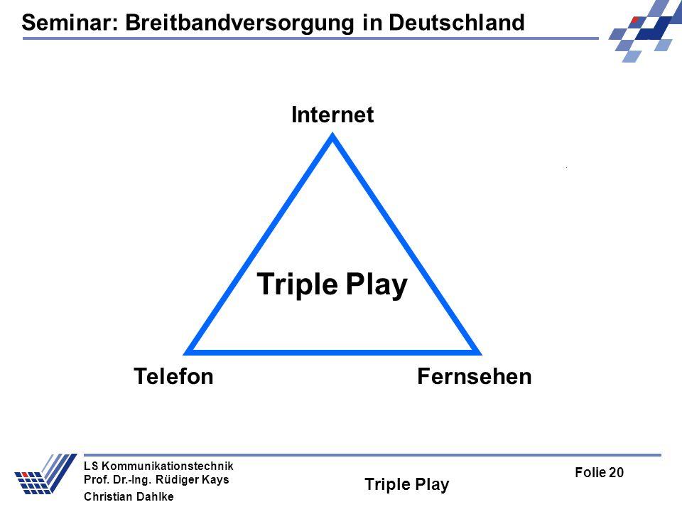 Seminar: Breitbandversorgung in Deutschland Folie 20 LS Kommunikationstechnik Prof. Dr.-Ing. Rüdiger Kays Christian Dahlke Triple Play Internet Telefo