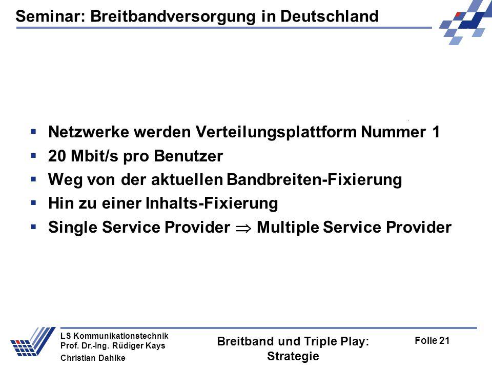 Seminar: Breitbandversorgung in Deutschland Folie 21 LS Kommunikationstechnik Prof. Dr.-Ing. Rüdiger Kays Christian Dahlke Breitband und Triple Play: