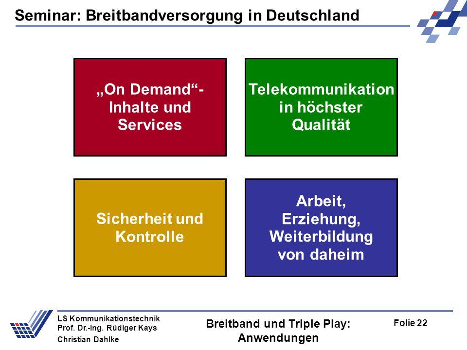 Seminar: Breitbandversorgung in Deutschland Folie 22 LS Kommunikationstechnik Prof. Dr.-Ing. Rüdiger Kays Christian Dahlke Breitband und Triple Play: