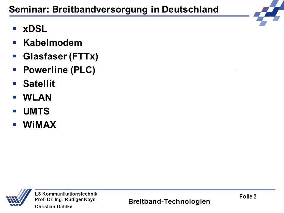 Seminar: Breitbandversorgung in Deutschland Folie 3 LS Kommunikationstechnik Prof. Dr.-Ing. Rüdiger Kays Christian Dahlke Breitband-Technologien xDSL