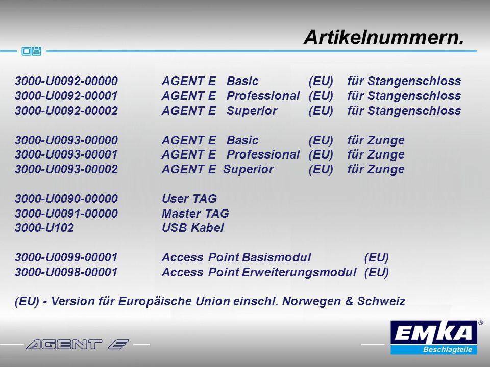 Artikelnummern. 3000-U0092-00000AGENT E Basic(EU) für Stangenschloss 3000-U0092-00001AGENT E Professional(EU) für Stangenschloss 3000-U0092-00002 AGEN
