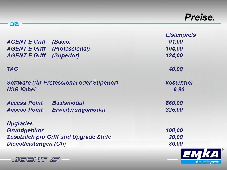 Preise. Listenpreis AGENT E Griff(Basic) 91,00 AGENT E Griff (Professional)104,00 AGENT E Griff (Superior)124,00 TAG 40,00 Software (für Professional