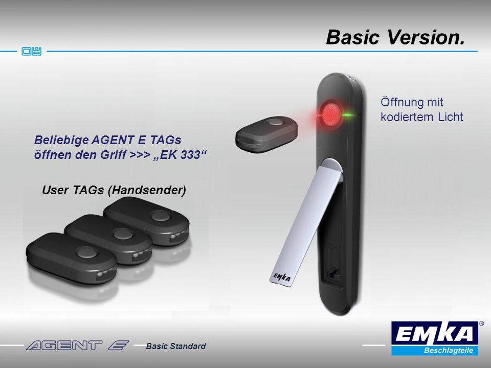Basic Version. Basic Standard User TAGs (Handsender) Beliebige AGENT E TAGs öffnen den Griff >>> EK 333 Öffnung mit kodiertem Licht