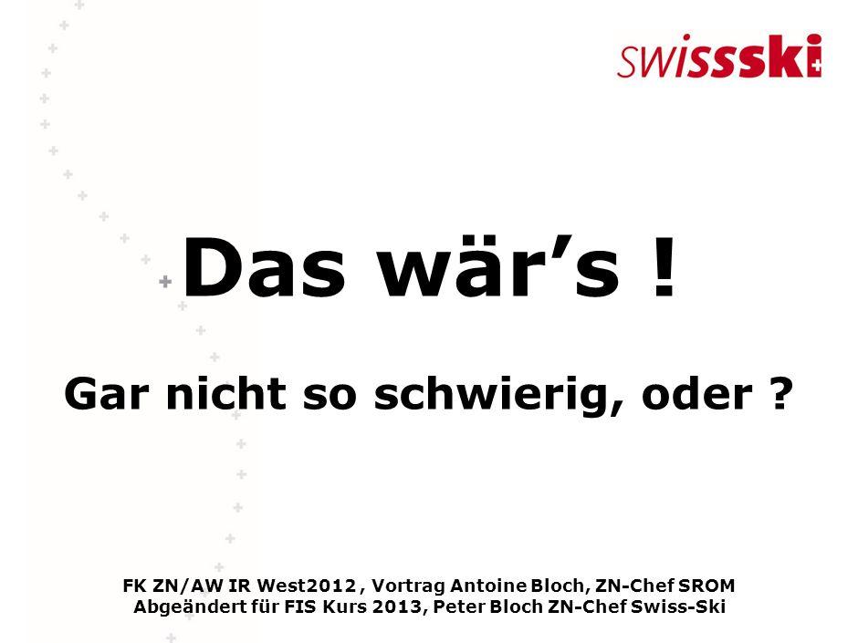 Das wärs ! Gar nicht so schwierig, oder ? FK ZN/AW IR West2012, Vortrag Antoine Bloch, ZN-Chef SROM Abgeändert für FIS Kurs 2013, Peter Bloch ZN-Chef