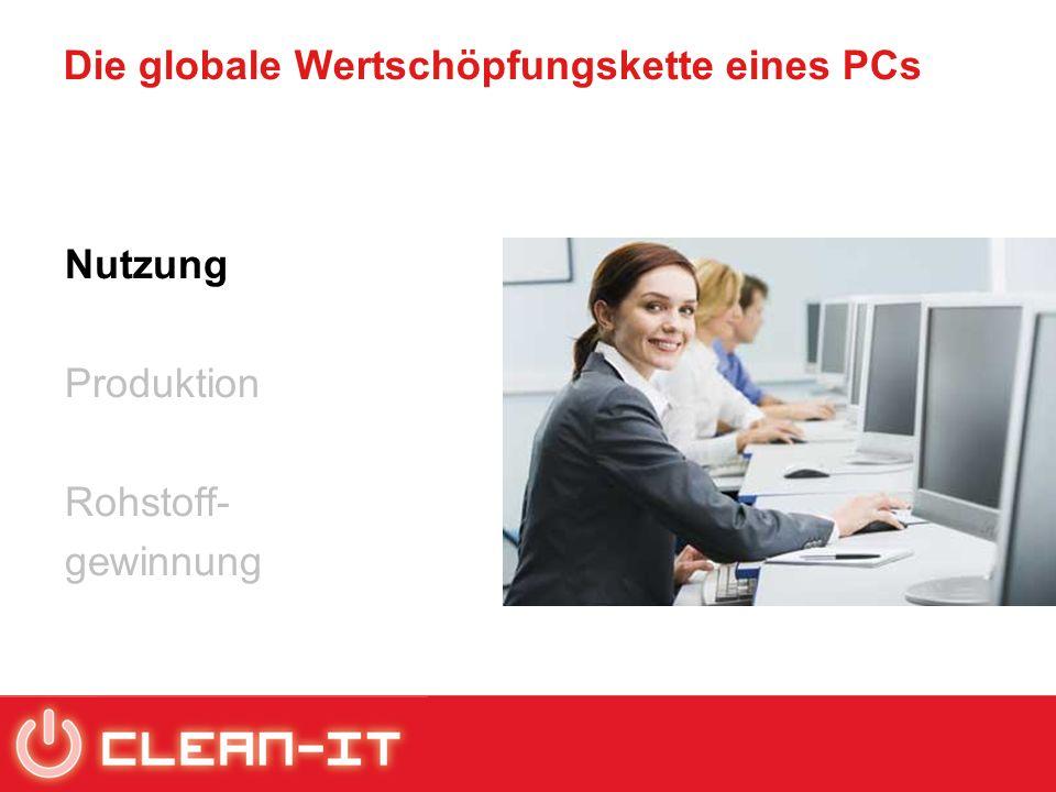 Die globale Wertschöpfungskette eines PCs Nutzung Produktion Rohstoff- gewinnung