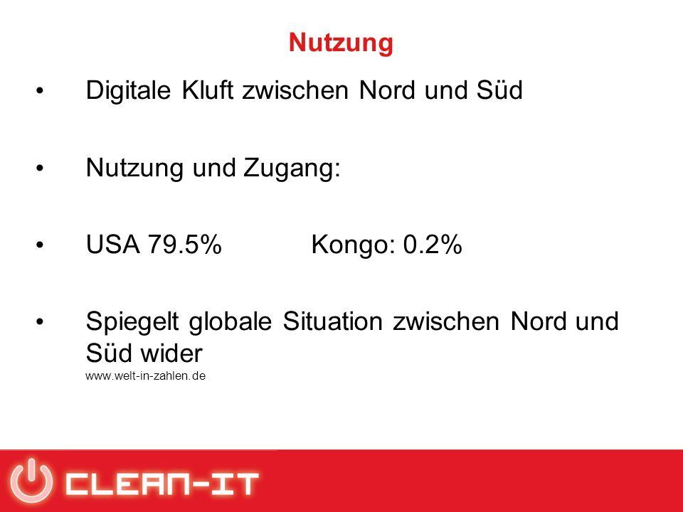 Nutzung Digitale Kluft zwischen Nord und Süd Nutzung und Zugang: USA 79.5% Kongo: 0.2% Spiegelt globale Situation zwischen Nord und Süd wider www.welt-in-zahlen.de