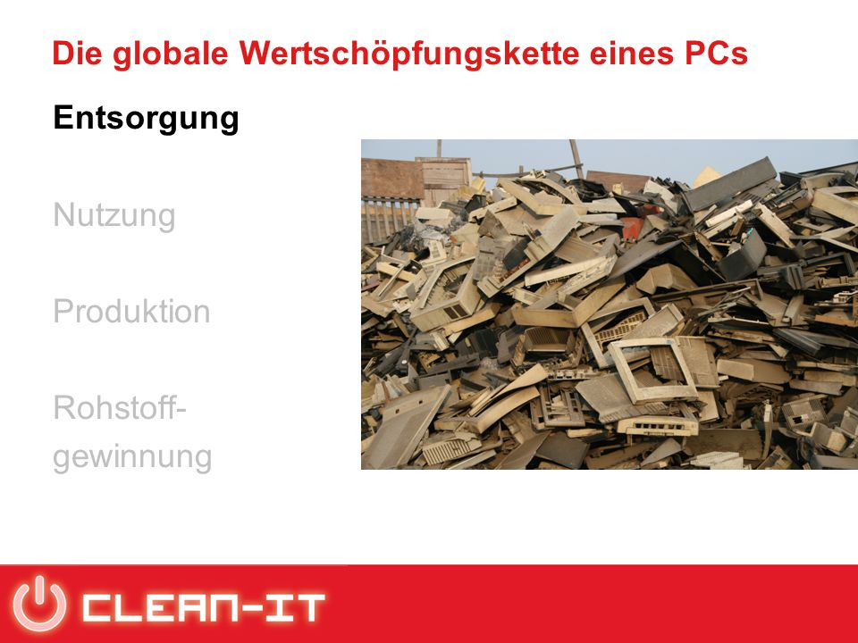 Die globale Wertschöpfungskette eines PCs Entsorgung Nutzung Produktion Rohstoff- gewinnung