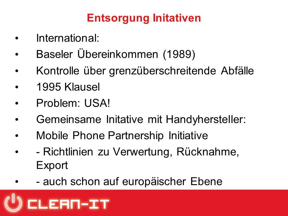 Entsorgung Initativen International: Baseler Übereinkommen (1989) Kontrolle über grenzüberschreitende Abfälle 1995 Klausel Problem: USA! Gemeinsame In