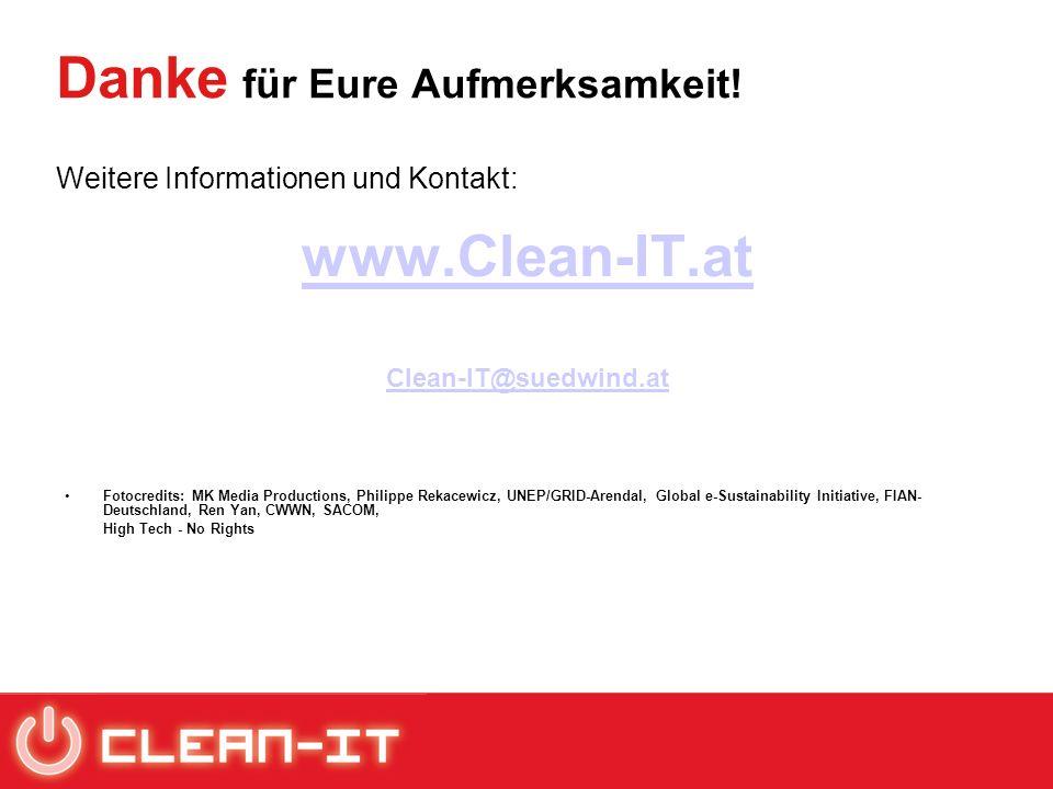Danke für Eure Aufmerksamkeit! Weitere Informationen und Kontakt: www.Clean-IT.at Clean-IT@suedwind.at Fotocredits: MK Media Productions, Philippe Rek