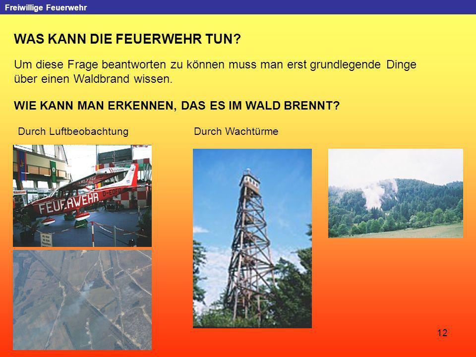 12 Freiwillige Feuerwehr WAS KANN DIE FEUERWEHR TUN? Um diese Frage beantworten zu können muss man erst grundlegende Dinge über einen Waldbrand wissen