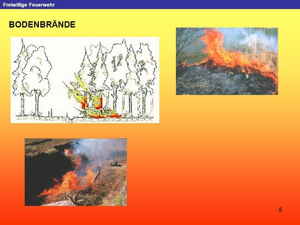 9 Freiwillige Feuerwehr VOLLBRÄNDE Vollbrände, auch als Total-, Kronen- oder Wipfelfeuer bezeichnet, sind die gefährlichste Form des Waldbrandes.