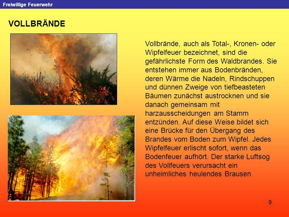 9 Freiwillige Feuerwehr VOLLBRÄNDE Vollbrände, auch als Total-, Kronen- oder Wipfelfeuer bezeichnet, sind die gefährlichste Form des Waldbrandes. Sie