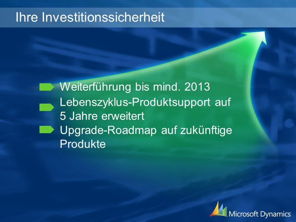 Ihre Investitionssicherheit Weiterführung bis mind. 2013 Upgrade-Roadmap auf zukünftige Produkte Lebenszyklus-Produktsupport auf 5 Jahre erweitert
