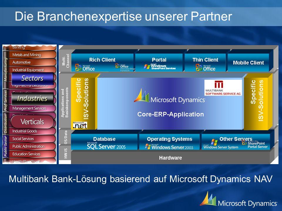 Die Branchenexpertise unserer Partner Multibank Bank-Lösung basierend auf Microsoft Dynamics NAV