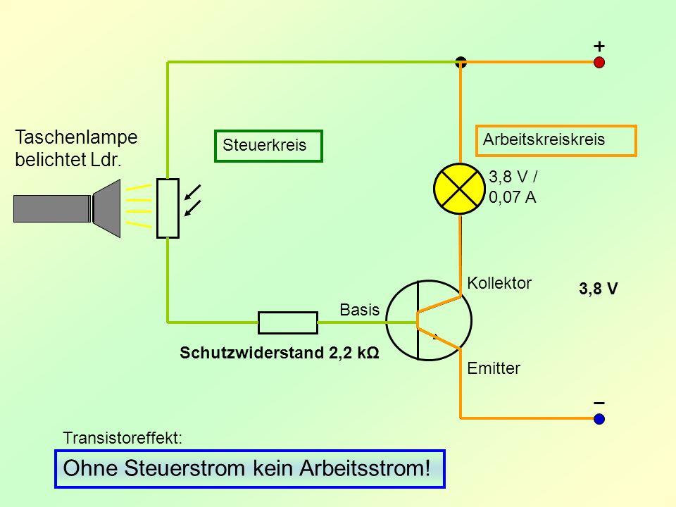 Arbeitskreiskreis Steuerkreis Transistoreffekt: Ohne Steuerstrom kein Arbeitsstrom! Taschenlampe belichtet Ldr. Schutzwiderstand 2,2 kΩ 3,8 V / 0,07 A