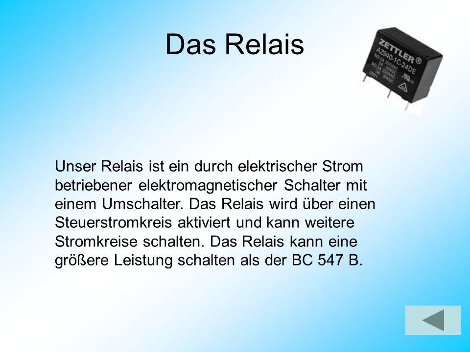 Das Relais Unser Relais ist ein durch elektrischer Strom betriebener elektromagnetischer Schalter mit einem Umschalter. Das Relais wird über einen Ste