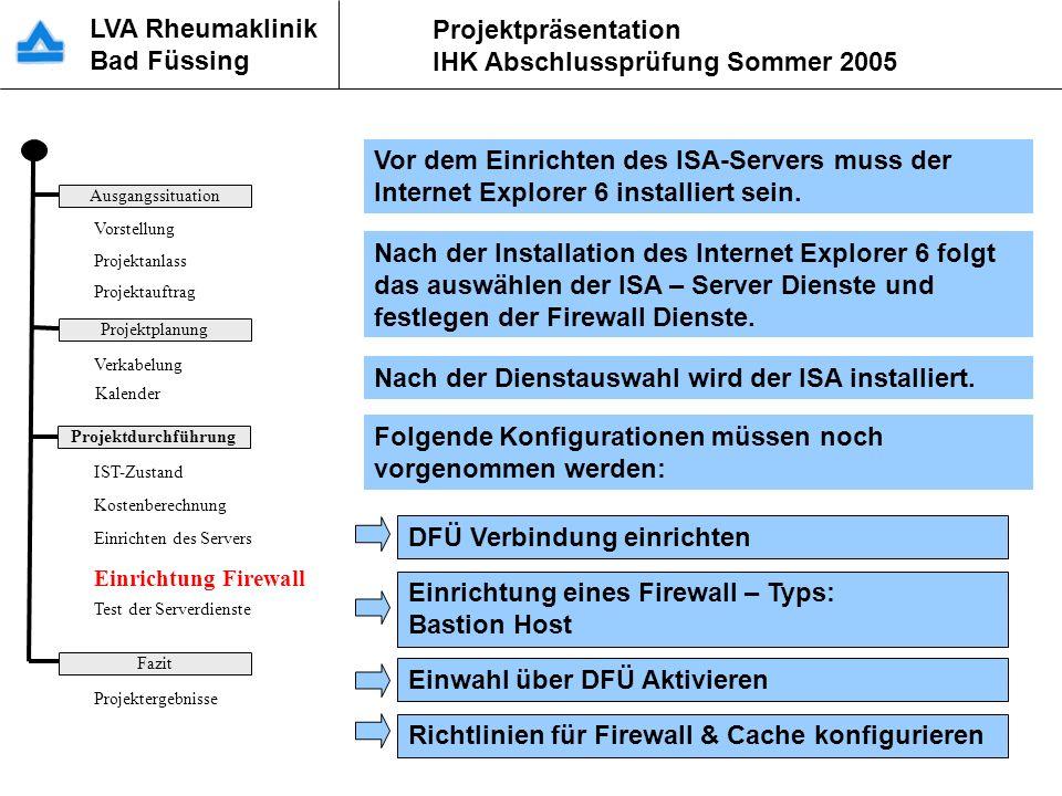 LVA Rheumaklinik Bad Füssing Projektpräsentation IHK Abschlussprüfung Sommer 2005 Vor dem Einrichten des ISA-Servers muss der Internet Explorer 6 inst