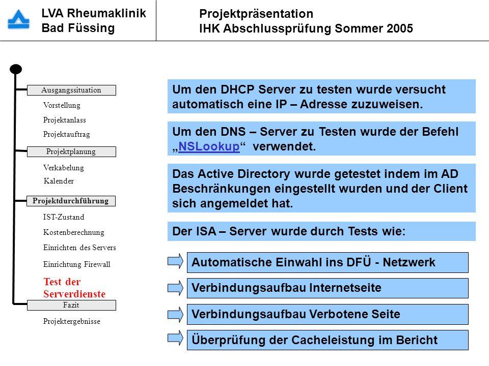 LVA Rheumaklinik Bad Füssing Projektpräsentation IHK Abschlussprüfung Sommer 2005 Um den DHCP Server zu testen wurde versucht automatisch eine IP – Ad