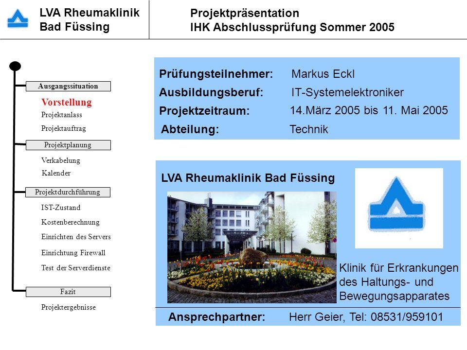 LVA Rheumaklinik Bad Füssing Projektpräsentation IHK Abschlussprüfung Sommer 2005 Vorstellung LVA Rheumaklinik Bad Füssing Klinik für Erkrankungen des