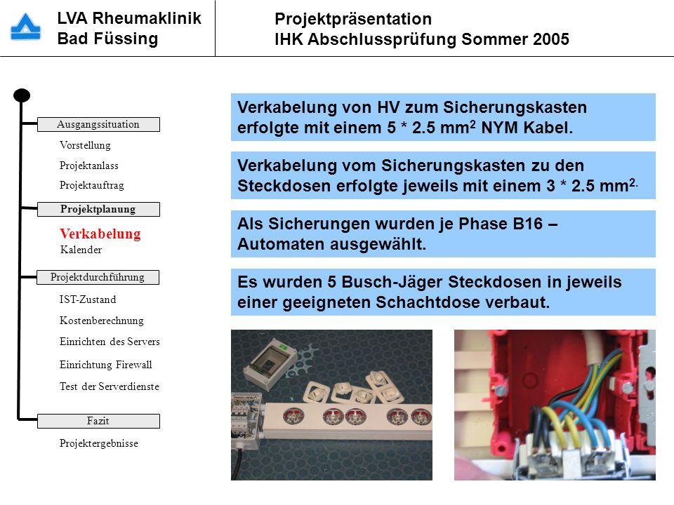 LVA Rheumaklinik Bad Füssing Projektpräsentation IHK Abschlussprüfung Sommer 2005 Verkabelung von HV zum Sicherungskasten erfolgte mit einem 5 * 2.5 m