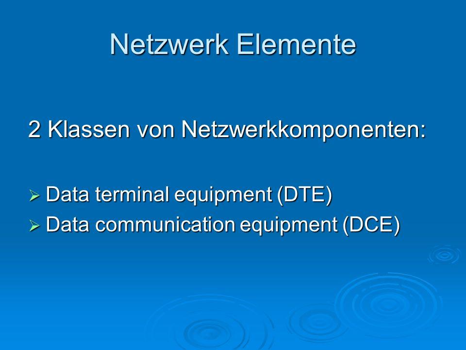 Netzwerk Elemente 2 Klassen von Netzwerkkomponenten: Data terminal equipment (DTE) Data terminal equipment (DTE) Data communication equipment (DCE) Data communication equipment (DCE)