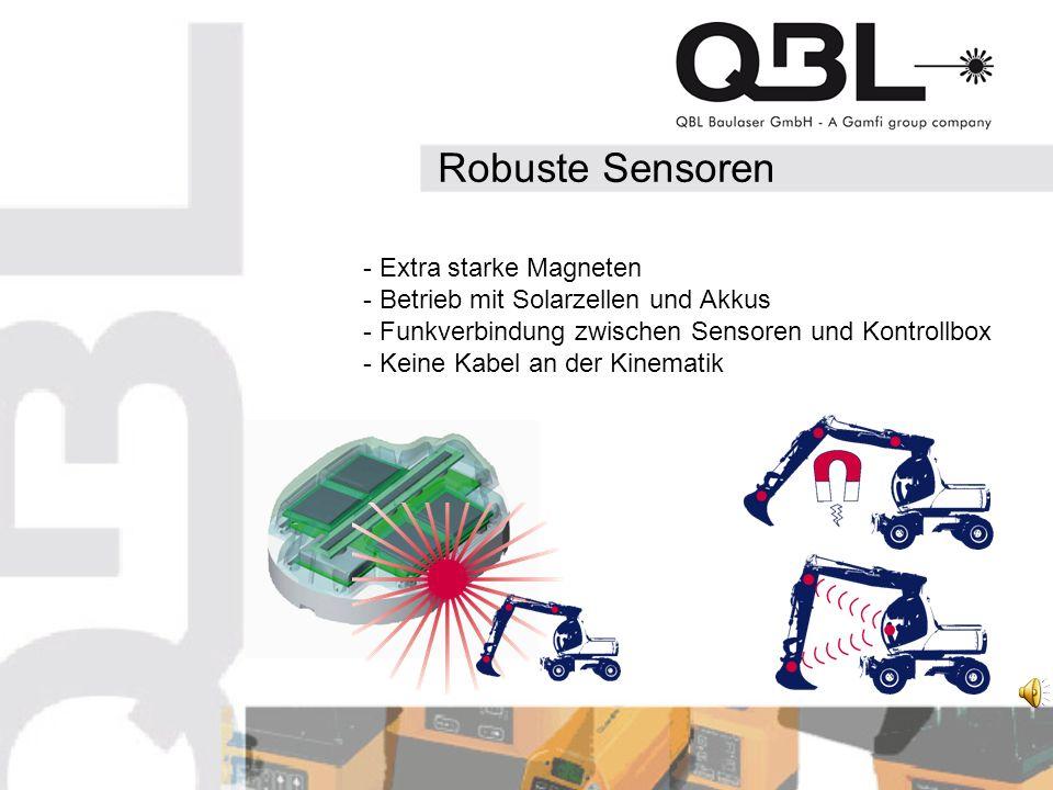 Robuste Sensoren - Extra starke Magneten - Betrieb mit Solarzellen und Akkus - Funkverbindung zwischen Sensoren und Kontrollbox - Keine Kabel an der Kinematik