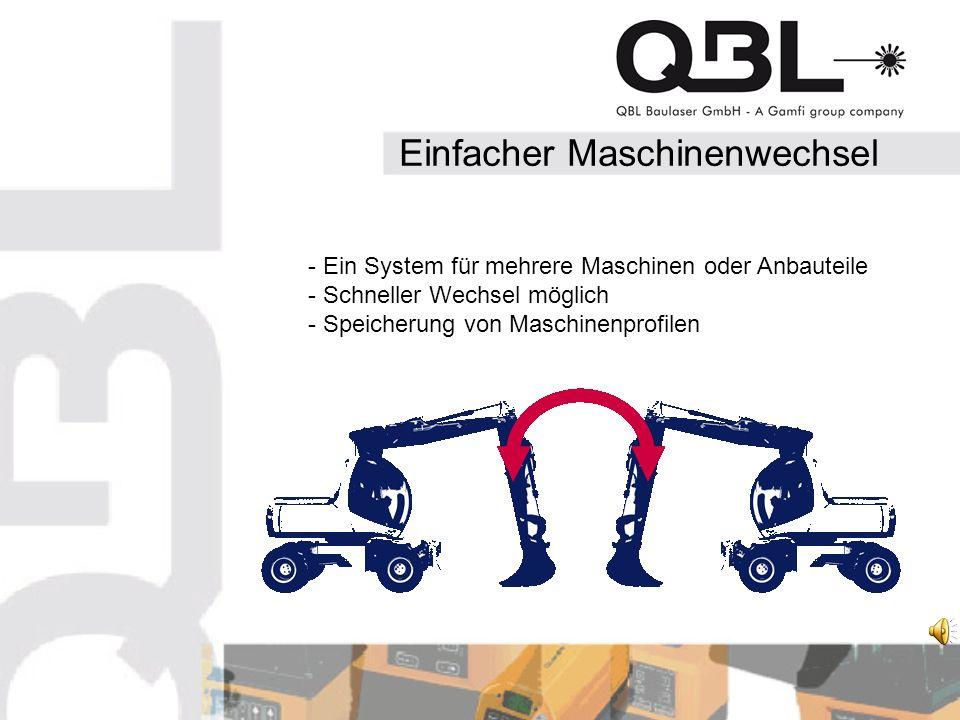 Einfacher Maschinenwechsel - Ein System für mehrere Maschinen oder Anbauteile - Schneller Wechsel möglich - Speicherung von Maschinenprofilen