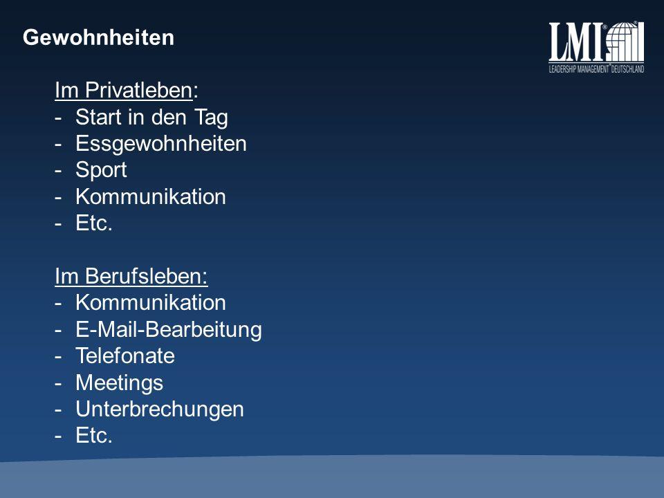 Gewohnheiten Im Privatleben: -Start in den Tag -Essgewohnheiten -Sport -Kommunikation -Etc. Im Berufsleben: -Kommunikation -E-Mail-Bearbeitung -Telefo