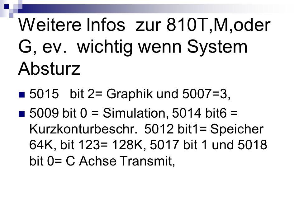Weitere Infos zur 810T,M,oder G, ev. wichtig wenn System Absturz 5015 bit 2= Graphik und 5007=3, 5009 bit 0 = Simulation, 5014 bit6 = Kurzkonturbeschr