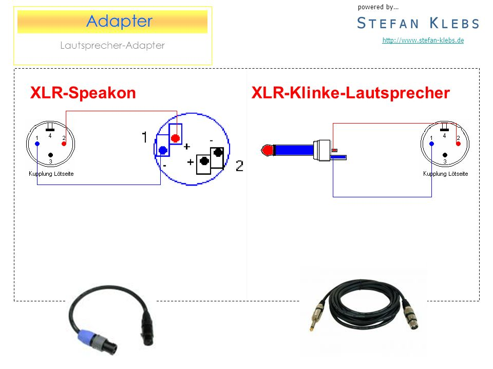 XLR-Klinke-Lautsprecher powered by… http://www.stefan-klebs.de Adapter Lautsprecher-Adapter XLR-Speakon
