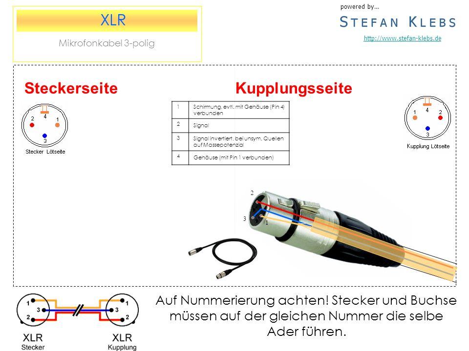 Kupplungsseite powered by… http://www.stefan-klebs.de XLR Mikrofonkabel 3-polig Steckerseite 1Schirmung, evtl.