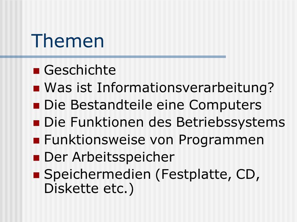 Themen Geschichte Was ist Informationsverarbeitung? Die Bestandteile eine Computers Die Funktionen des Betriebssystems Funktionsweise von Programmen D