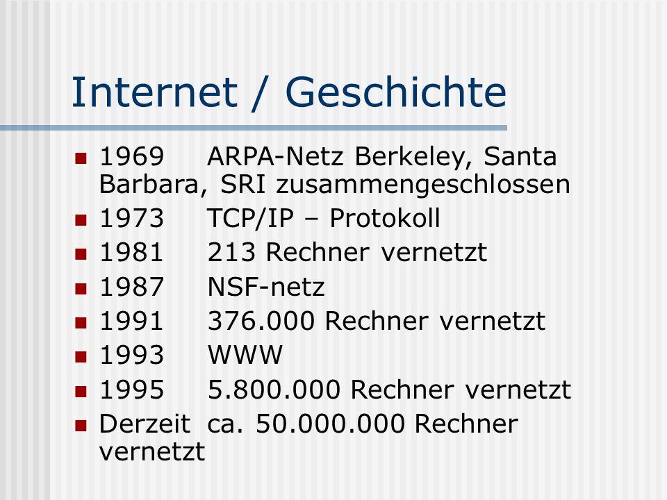Internet / Geschichte 1969ARPA-Netz Berkeley, Santa Barbara, SRI zusammengeschlossen 1973 TCP/IP – Protokoll 1981213 Rechner vernetzt 1987 NSF-netz 1991 376.000 Rechner vernetzt 1993WWW 19955.800.000 Rechner vernetzt Derzeit ca.