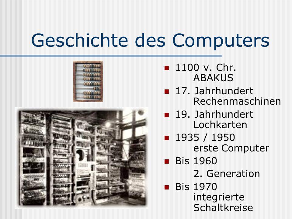 Geschichte des Computers 1100 v. Chr. ABAKUS 17. Jahrhundert Rechenmaschinen 19. Jahrhundert Lochkarten 1935 / 1950 erste Computer Bis 1960 2. Generat