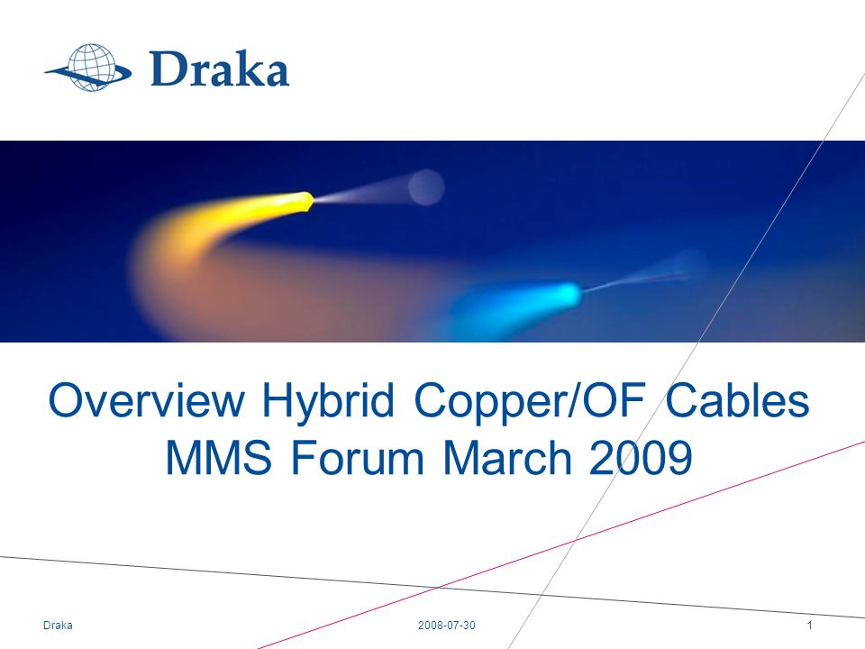 2008-07-30Draka1 Overview Hybrid Copper/OF Cables MMS Forum March 2009